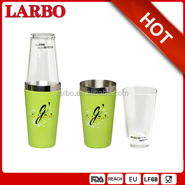 850ml colored PVC cover boston shaker