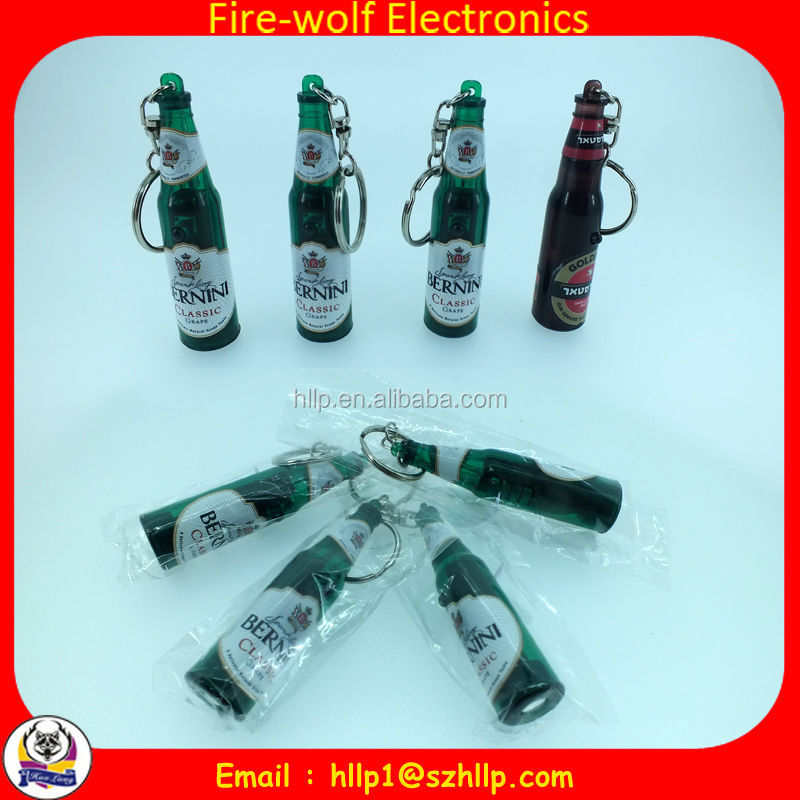 China wholesale promotion beer bottle shape projector keychain