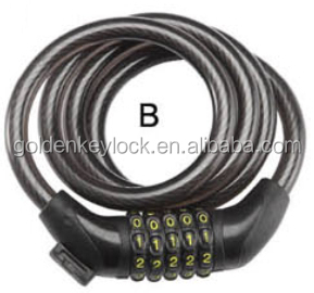 5 digit combination cable lock bicycle lock