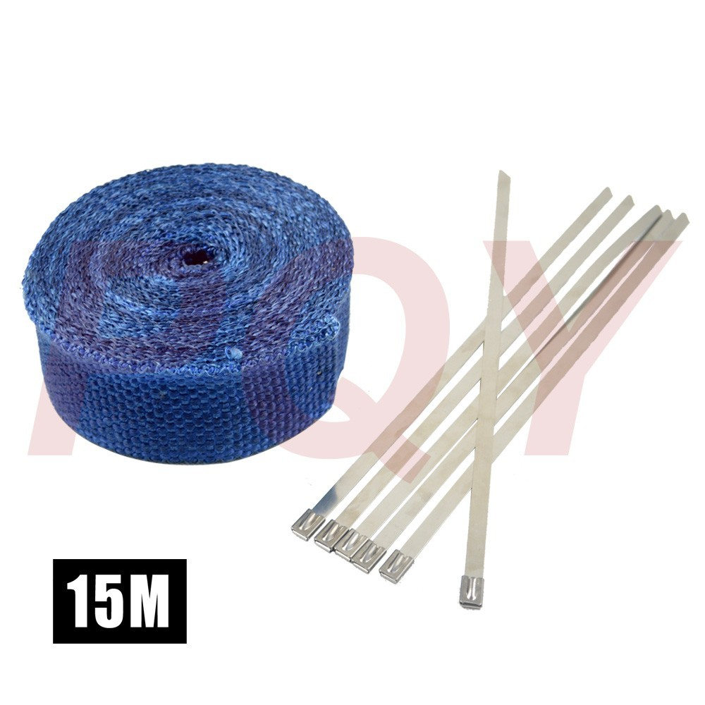 "2"" *15meter Thermal Wrap,exhaust insulating warp,header warp ,exhaust pipe warp+ 6 pcs Ties"