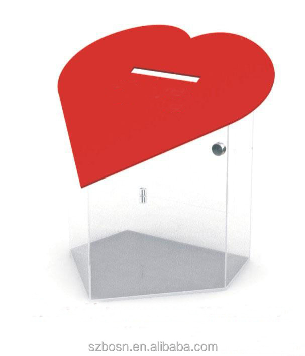 Heart shape transparent hot sale square acrylic ballot box with ballot box for sale