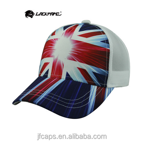 the union flag sublimation printing comfortable mesh hats and caps