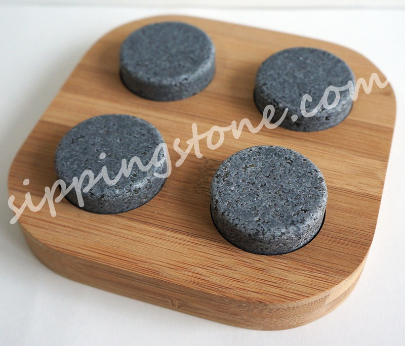 Soapstone round whisky stone in bamboo box | whisky disk