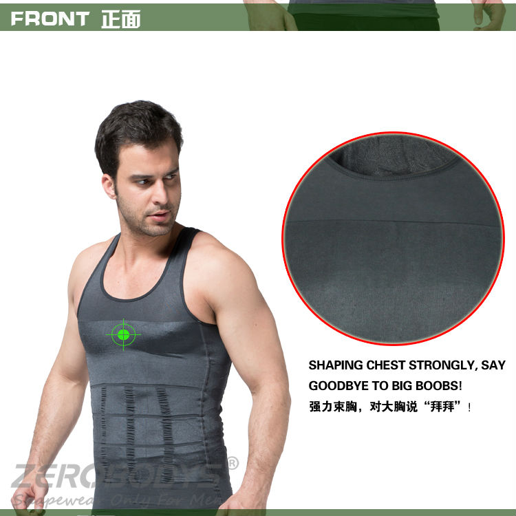 107 GY ZEROBODYS Incredible Mens Body Shaper Firming Panels 140D Vest Shapewear Slimming Shirt for Mens Body Slim for Men