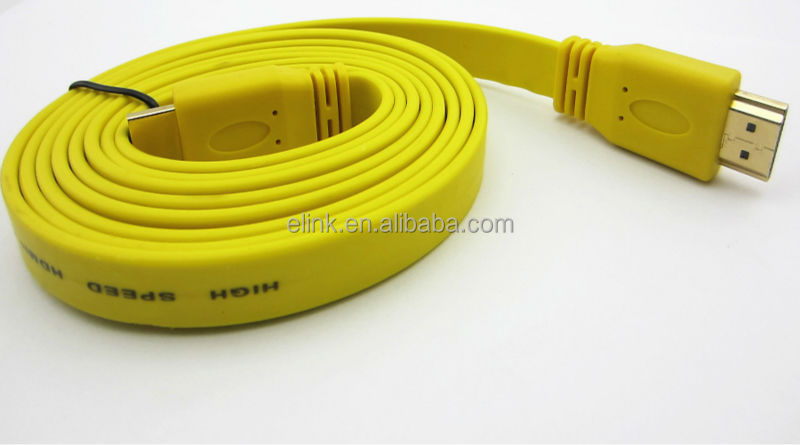 3M 10FT Newest style colorful flat noodle HDMI cable gold connector support 1080p 3D ethernet