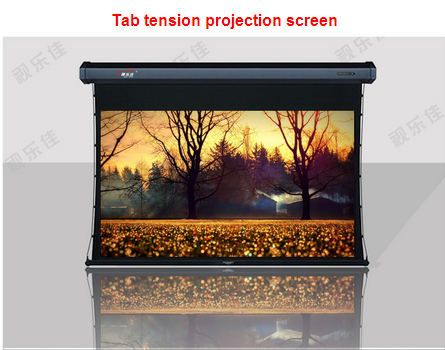 Hot selling !!2015 Motorized Tab tension projector screen with RF remote control