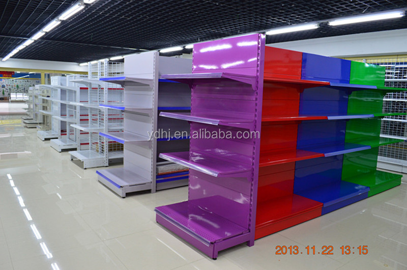 New Supermarket Gondola Shelving / Commercial Gondola Shelving / Sliding metal Shelves with Customized Size