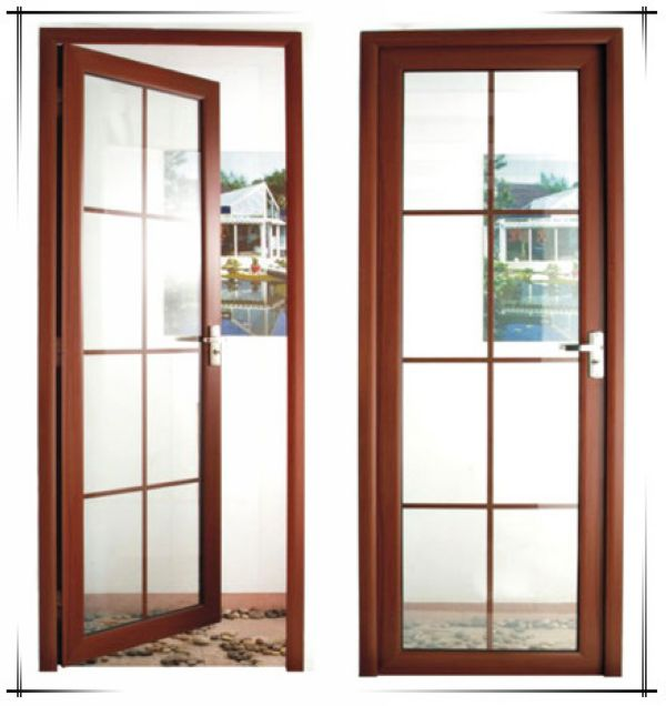Wood grain color soundproof lowes sliding glass patio for Aluminum sliding glass doors