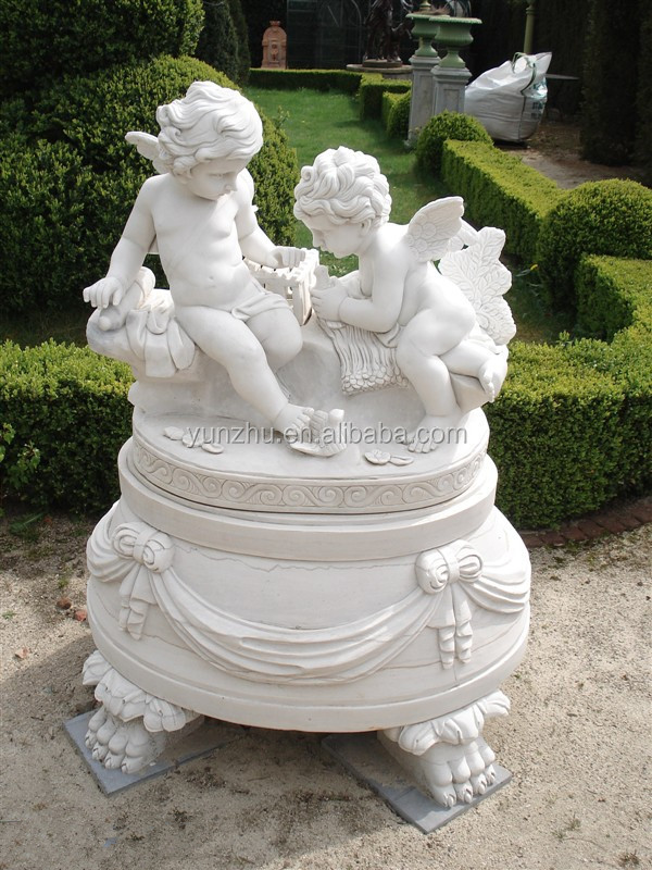 Garden decoration hand carved large marble angel statue for Figurine decoration jardin