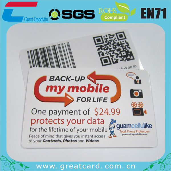 Plastic Gift Card With Embossed DOD Barcode