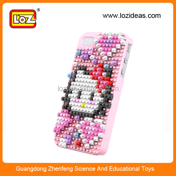 Funny diy kitty puzzle LOZ block case for iphone 5 5s