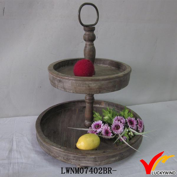tiered antique wooden round tray stand
