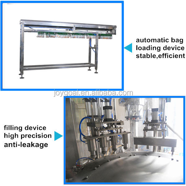 spout pouch filling and capping machine for juice, soybean milk
