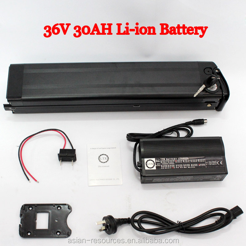 Exclusive Big Capacity 36V 30AH Li-ion Battery with Slim Aluminium Case BMS Charger