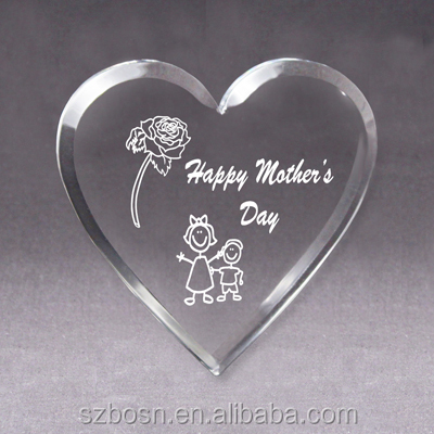 Clear Heartshaped Acrylic Love Gift & Heart Gift with a red rose inside