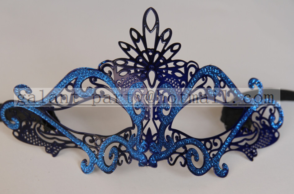 2014 fashion woman and man cool sexy blue metal lace eye mask
