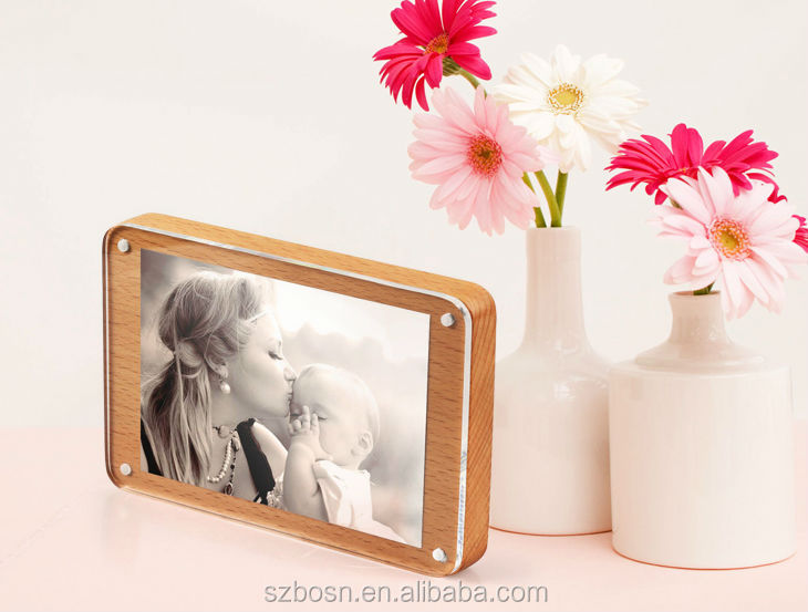 "6"" Clear Acrylic Photo Frame with Wood Base"