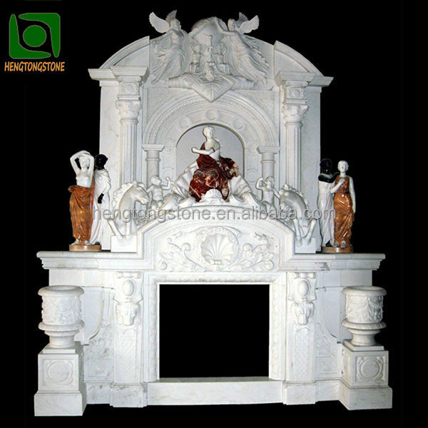 Luxury Marble Double Fireplace Mantel with Angel Statues