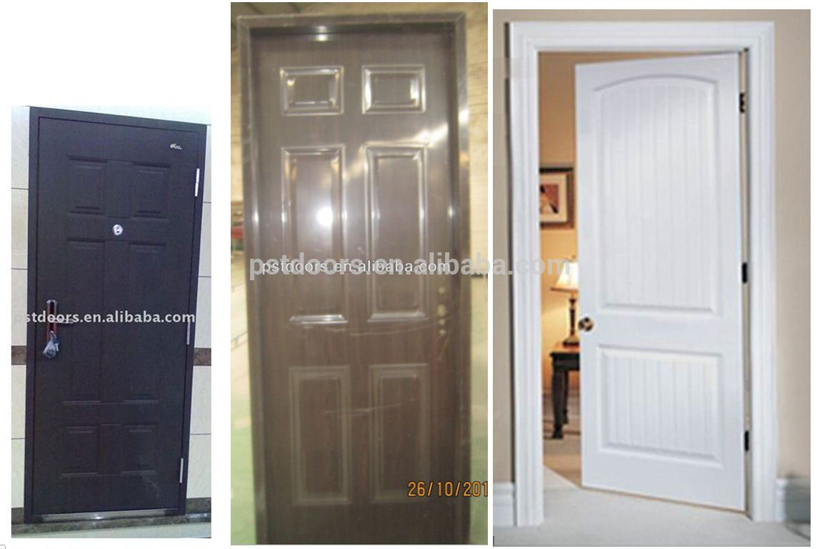 High Definition Decorative Panel 6 Panel Door Metal Door With Konck Down  Packing Frame