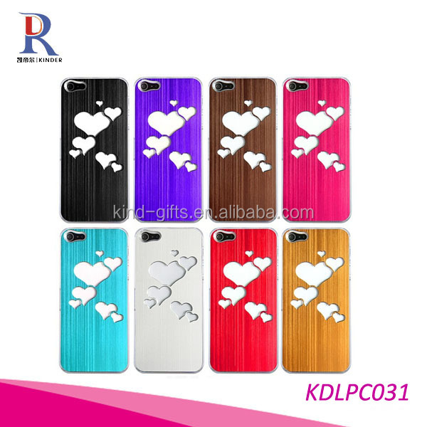 New Sense Brushed Metal Love Heart Flash Light LED Color Changing Hard Case for iPhone 5
