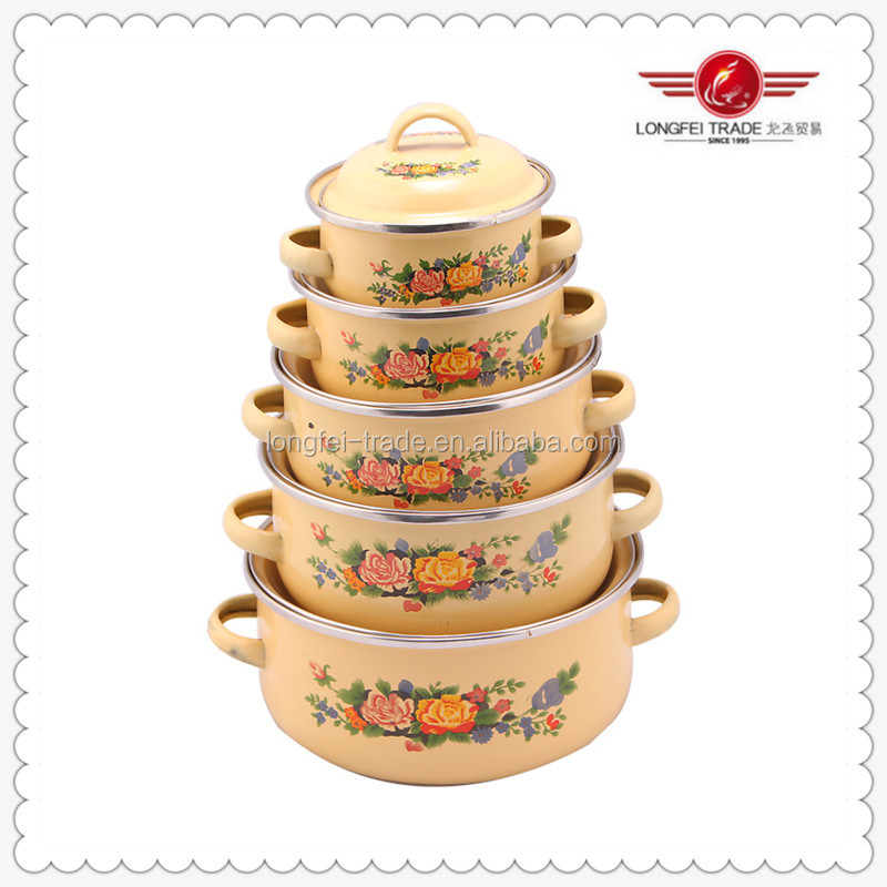 Full Flower Decal 5pcs/set enamel handle and lid casserole Kitchenware 18-26cm