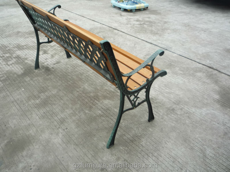 GARDEN PARK BENCH 3 SEATER WOODEN CAST IRON LEG