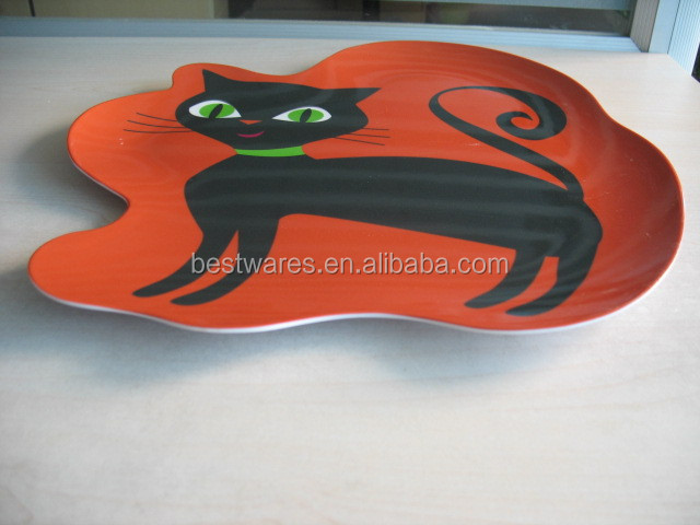 Hot sale hallowmas printing cat melamine unique dessert 10 inch plates