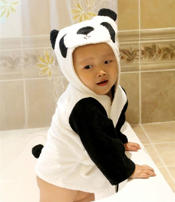 Lovely cartoon eco-friendly baby bathrobe for children, yellow lion bath towel for kid, bath robes