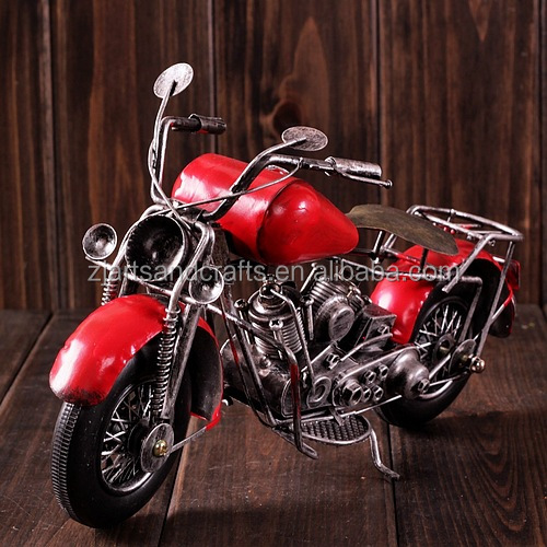 Iron handicraft mini red motorcycle model for cafe bar decoration