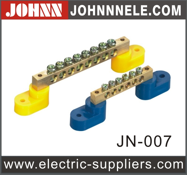 Yellow and Blue Brass Terminal Block Earth Bus Bar