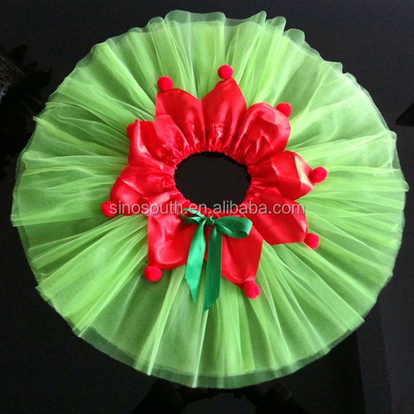 2014 new style girls red petal apple green cheap chiffon christmas tutu skirt
