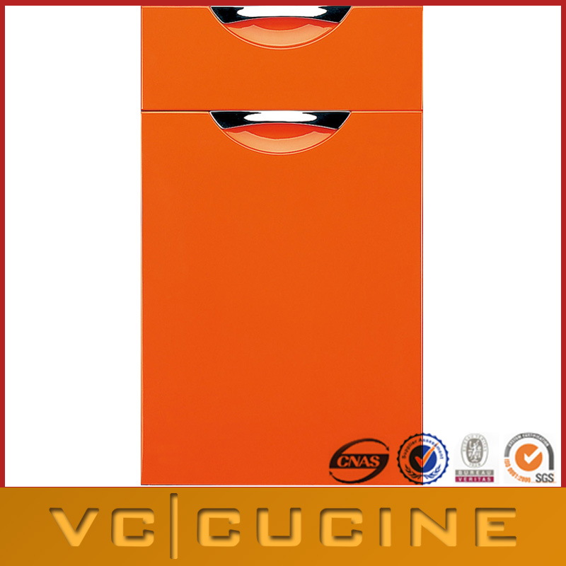 Orange color lacquer kitchen cabinets door