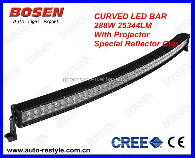 50 inch 288w curved CREE light bar for atv,utv,suv,offroad ming,boat