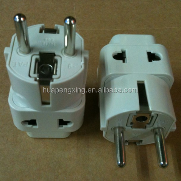 WDI-9 Grounded Universal 2 in 1 Schuko Plug Adapter Type E/F for Germany, France, Europe, Russia & more - CE Certified