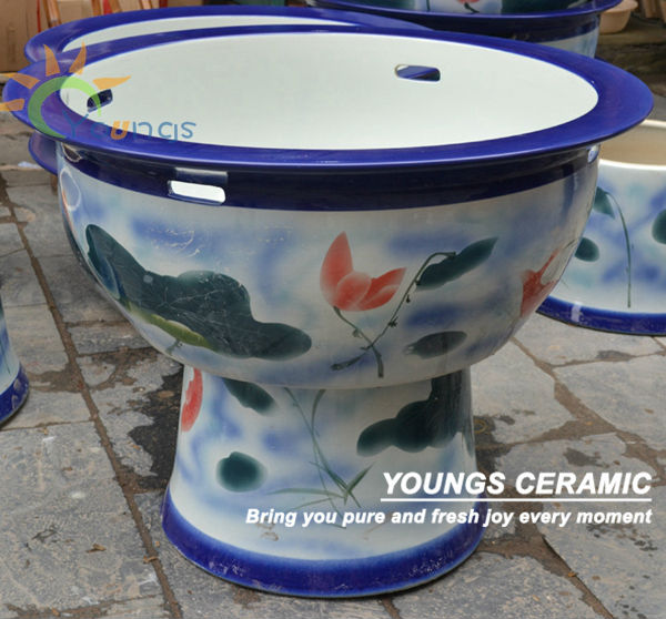 Big Chinese Ceramic Decorative Pedestal Planter Fish Pot Bowl For Wholesale And Retail