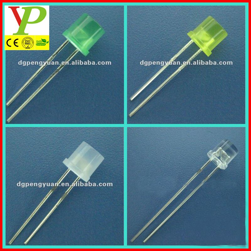 colored diffused 3mm 5mm flat top led diode