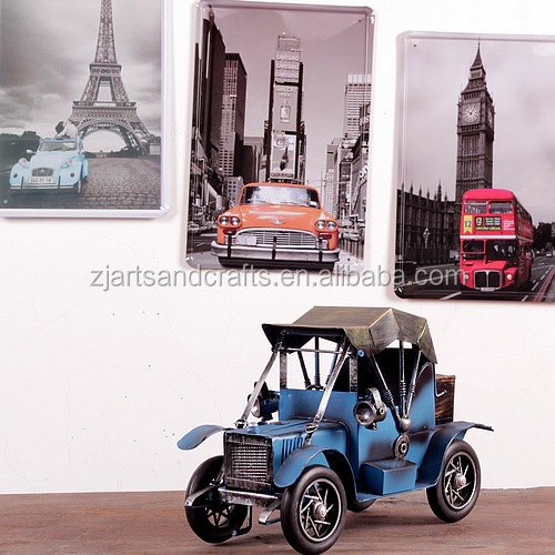 Small tin model car for cafe bar decoration