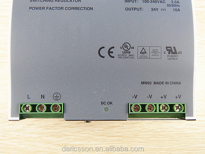 24V Industrial DIN Rail Power Supply 240W with PFC function DRP-240-24 MEAN WELL original