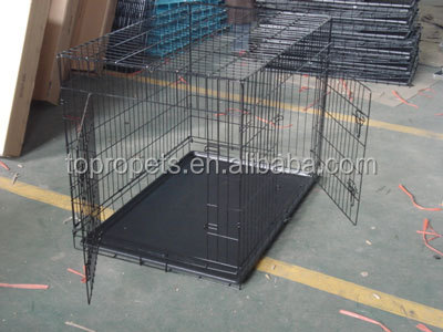 Black Pen Folding Dog Puppy Pet Crate Training Cage Kennel w/Tray