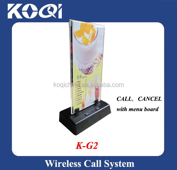 Wireless Waiter Call Bell K-G2 with menu board