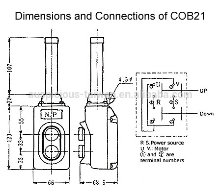 cob21 direct operation hoist push button pendant switch