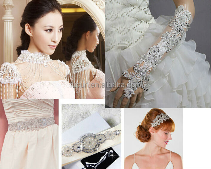 wholesale crystal rhinestone lace trim for bridal /kids clothing rhinestone appliques