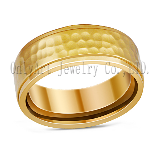 two tone plated titanium ring, noble gold streak fashion titanium ring jewelry,wholesale
