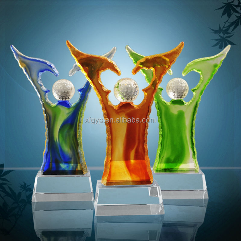 Colorful Large White Eagle Crystal Trophy and Awards, statue