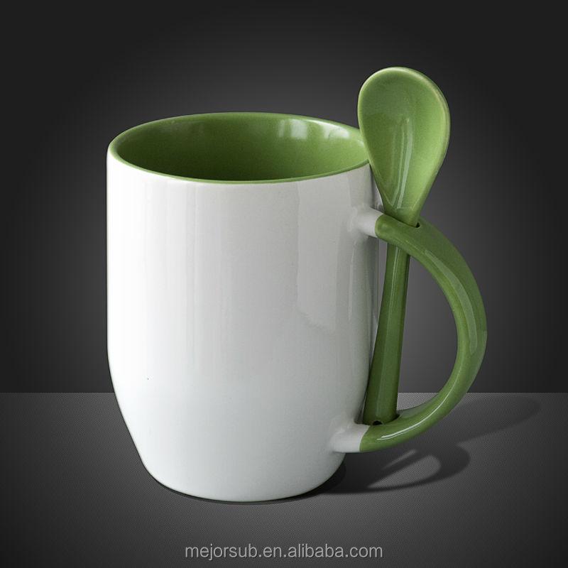 High Quanlity Unique Shape Ceramic Coffee Mug With Spoon