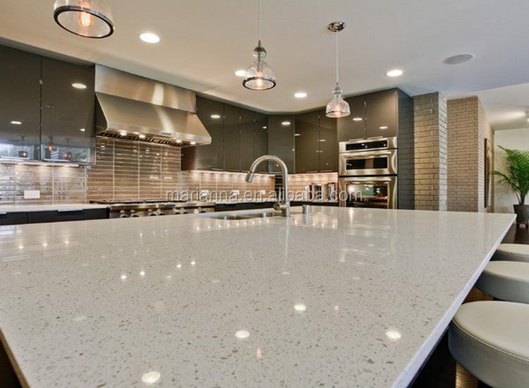 White Mirror Fleck Quartz Stone Countertop MA G119 Man Made Stone For  Kitchen Table