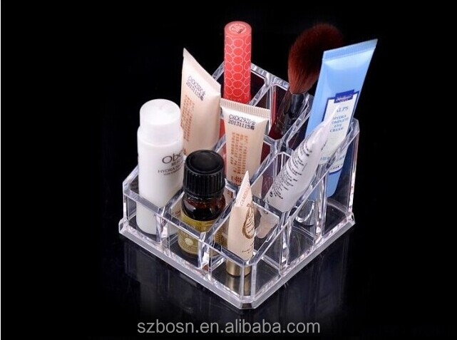 High quality 12 Grid clear acrylic cosmetic display cases with display cases for sale