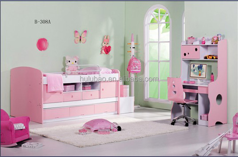 Hot Sale High Quality and pink bunk bed Children Furniture Bunk Bed for Boy/Girl B308