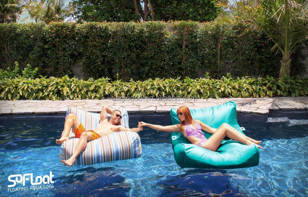 Extra large floating bean bag , Giant pool side beanbag chair on the water