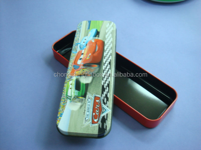 rectangular lovely pencil tin box